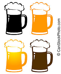 set of colorful beer mugs with foam - set of colorful...