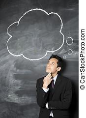 chino, hombre de negocios, Mirar, discurso, burbuja, pizarra