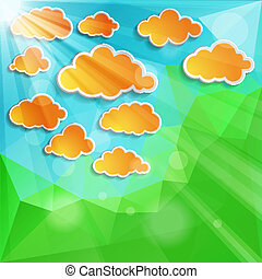 orange clouds with sun light on a natural green abstract...