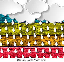 clouds with rain drops on a Colorful Wooden Planks...