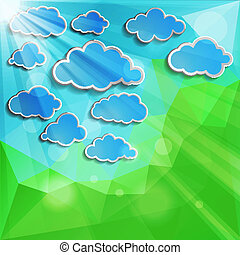 blue clouds with sun light on a natural green abstract...