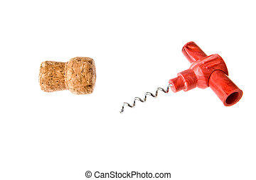 cork-screw and cork on a white background