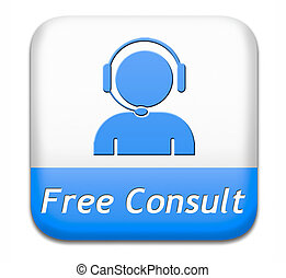 free consult button or help and information desk icon...