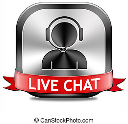live chat button - live chat icon. Chatting online button.