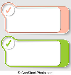 set of two abstract text boxes with check box