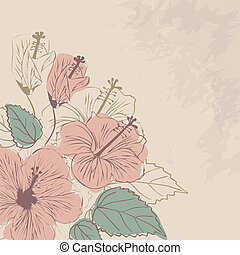 Vector floral background in vintage style