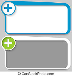 two vector text box and plus sign