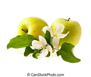 green apples with a flower