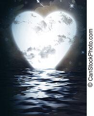 Heart Monn reflected  in water