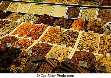 Sweets for sale in La Boqueria market, Barcelona Spain