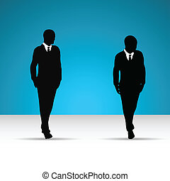Business man in suit and tie silhouette.