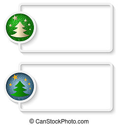 two white abstract text frame with a Christmas tree
