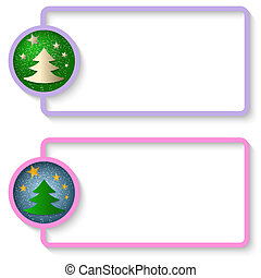 two abstract text frame with a Christmas tree
