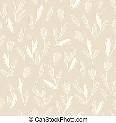 Clear floral white on beige seamless pattern - Clear floral...