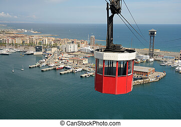 Cablecar over the port in Barcelona, Spain