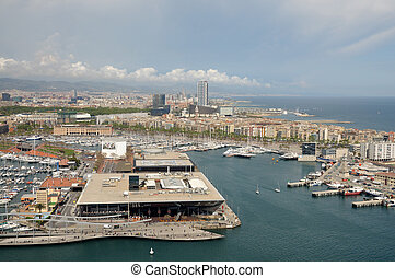 Aerial view over the marina in Barcelona, Spain