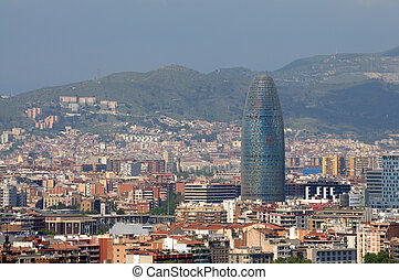 Aerial view over Barcelona, Spain