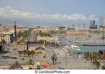 Aerial view of the Port Vell district of Barcelona, Spain