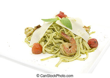 spaghetti with prawns - spaghetti with shrimps on a white...