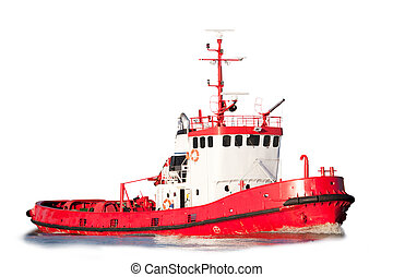 Isolated Tug Boat - An isolated tug boat equipped with...