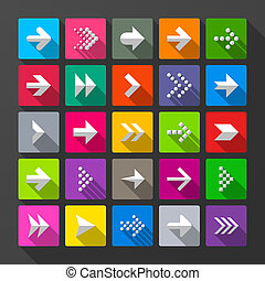 25 arrows icons, signs Long shadow style