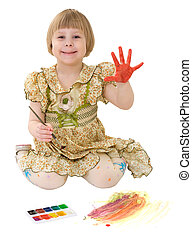 Little girl drawing of water-colore on the white