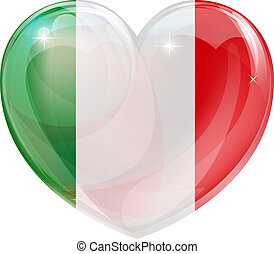 Italian flag love heart