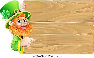 Leprechaun Wooden Sign - Drawing of a St Patricks day...