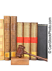 Wooden gavel and law books - Wooden gavel from the court and...