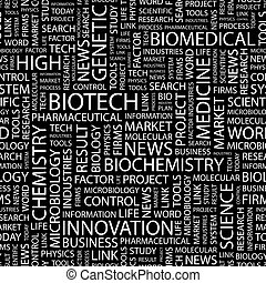 BIOTECH. Seamless pattern. Word cloud illustration.