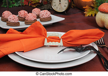 The idea of ??a table setting for Halloween