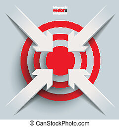 4 Paper Cut Arrows Target - White paper arrow with red aim...