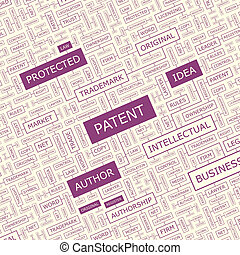 PATENT. Word cloud concept illustration. Wordcloud collage.