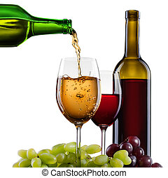 White wine pouring into glass with grape and bottles isolated