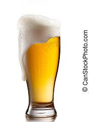 Cerveja, vidro, isolado, branca, fundo