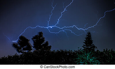 Lightening - Thunder and Lightening strike on a dark cloudy...