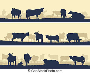 Horizontal banners of farm pets. - Horizontal vector banner:...