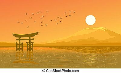 Sunset over coast Japanese gate - Vector illustration...