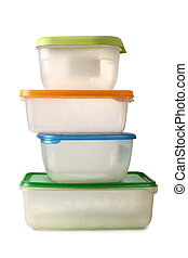 Plastic containers - Plastic food containers on a white...