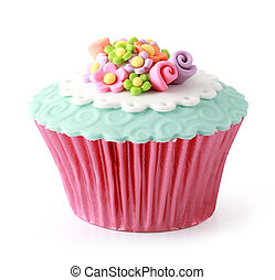 Cupcake - Sweet cupcake delicious isolated over white...