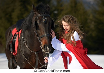 beautiful woman with horse - beautiful woman with red cloak...
