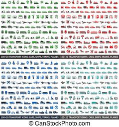 480 Transport icons: Cars, Ships, Trains, Planes, vector...