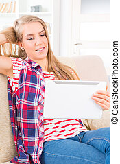 Young woman with tablet