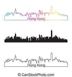 Hong Kong skyline linear style with rainbow in editable...