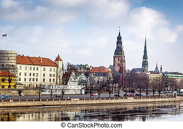 Riga, Latvia - view of the old city of Riga from the river,...
