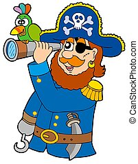 Pirate with spyglass and parrot - isolated illustration.