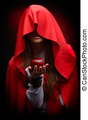 beautiful woman with red cloak hoding apple - beautiful...
