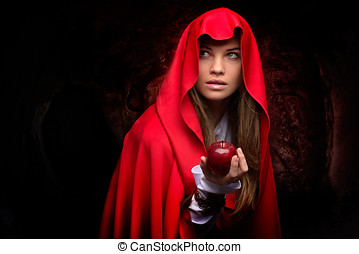 beautiful woman with red cloak and fruit - beautiful woman...