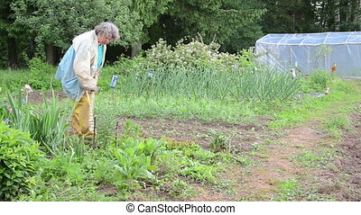 working gardening - white haired woman with working clothes...