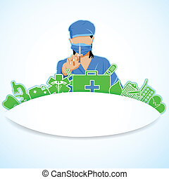 Lady Surgeon - easy to edit vector illustration of lady...